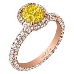 Neil Lane Couture Fancy Color Old Mine Cut Diamond, 18 Karat Rose Gold Ring