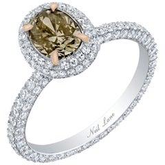 Neil Lane Couture Design Fancy Color Oval Brilliant-Cut Diamond, Platinum Ring
