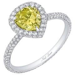 Neil Lane Couture Design Fancy Color Pear Brilliant-Cut Diamond, Platinum Ring