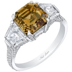 Neil Lane Couture Design Fancy Color Square Emerald-Cut, Platinum Ring