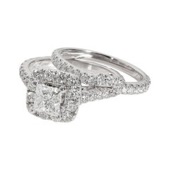 Neil Lane Halo Princess Diamond Engagement Set in 14K White Gold 2.5 CTW