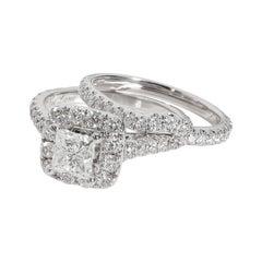 Neil Lane Halo Princess Diamond Engagement Set in 14K White Gold 2.5 CTW