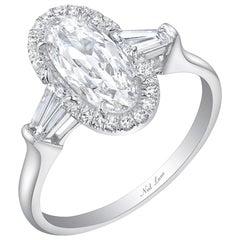 Neil Lane Couture Design Moval Shaped Diamond, Platinum Engagement Ring