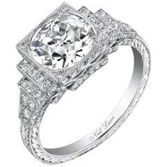 Neil Lane Couture Design Old European-Cut Diamond, Platinum Ring