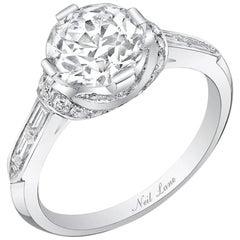 Neil Lane Couture Design Old Europian-Cut Diamond, Platinum Ring