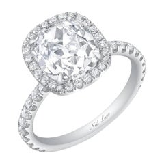 Neil Lane Couture Design Old Mine Brilliant Diamond and Platinum Engagement Ring