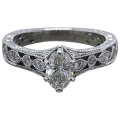 Neil Lane Oval Diamond Engagement Ring 3/4 TCW in 14 Karat White Gold