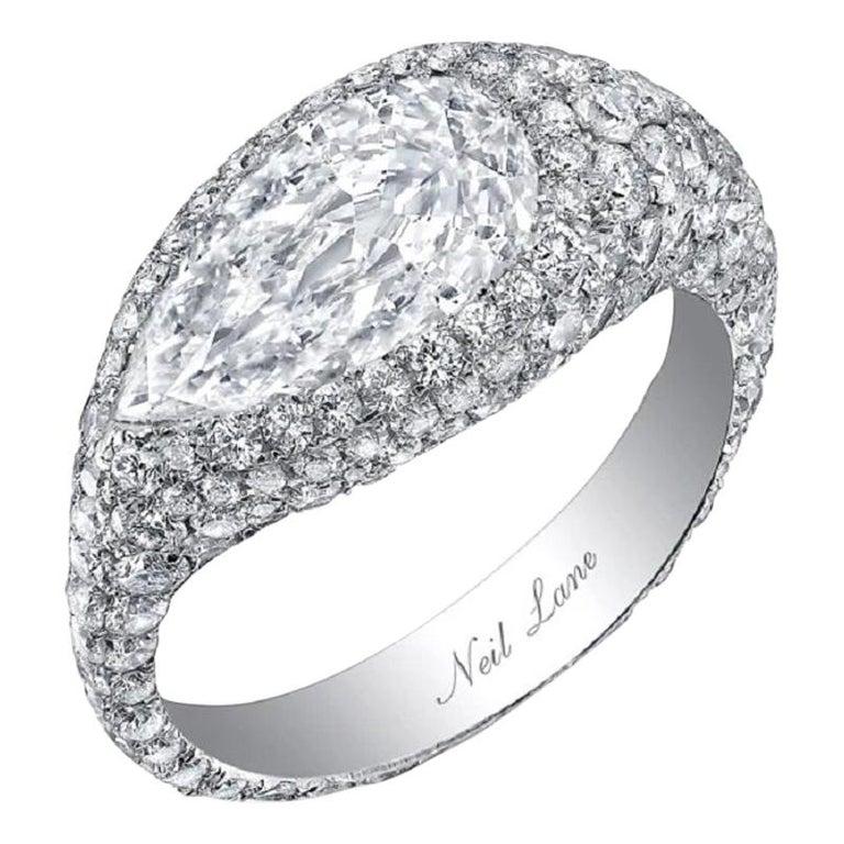 Pear-shape diamond and platinum ring, 2018