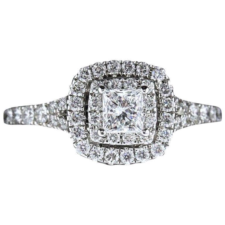 df75f5cf75cb8a Neil Lane Princess Cut Diamond Engagement Ring 1.00 Carat 14 Karat White  Gold For Sale