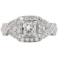 Neil Lane Princess Cut Diamond Engagement Ring 1.38 Carat in 14 Karat White Gold