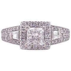 Neil Lane Princess Diamond 1.50 Carat Engagement Ring in 14 Karat White Gold