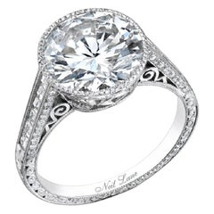 Neil Lane Couture Design Round Brilliant-Cut Diamond, Platinum Ring