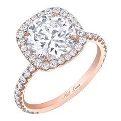 Neil Lane Couture Design Round Cut, Diamond Rose Gold Ring