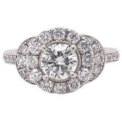 Neil Lane Round Diamond Halo 1.03 Carat 14 Karat White Gold Engagement Ring