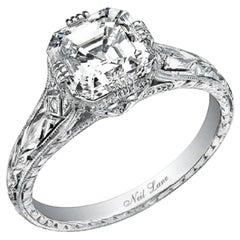 Neil Lane Couture Design Square Step-Cut Diamond, Platinum Ring