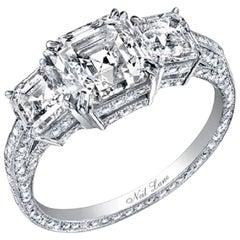 """Neil Lane Couture Design """"Three Stone"""" Square Emerald Cut Diamond, Platinum Ring"""