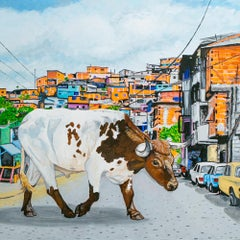 """Contra"", Cityscape, Cow, Bull, Animal, Acrylic Painting, Figurative"