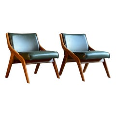 Neil Morris Walnut Lounge Chairs for Morris Furniture Glasgow, circa 1950s