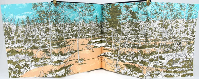 Five color etchings and double-page fold-out lithograph by Neil Welliver, printed by Shigemitsu Tsukaguchi. 26 pages of text by Henrik Ibsen. Bound in woven and collaged silk fitted cover and housed in a silk folding case by David Bourbeau. Edition