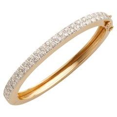 Neiman Marcus 18k Gold Diamond Bangle Bracelet