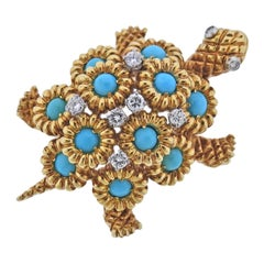 Neiman Marcus 1960s Turquoise Diamond Gold Turtle Brooch