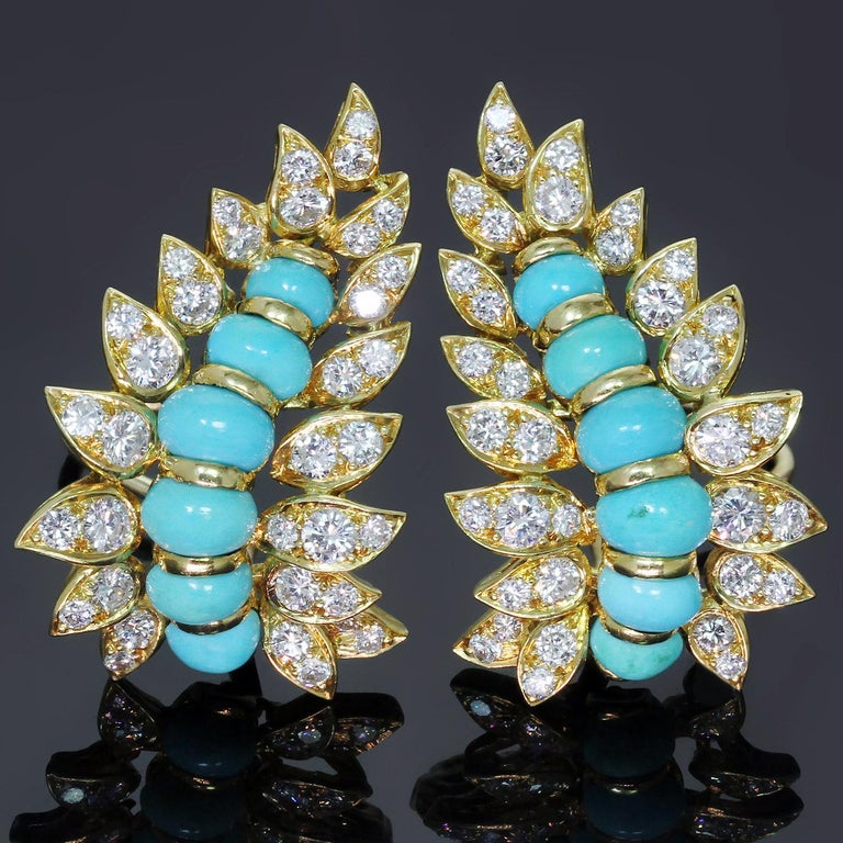 Neiman Marcus Diamond Turquoise Yellow Gold Clip-On Earrings 2