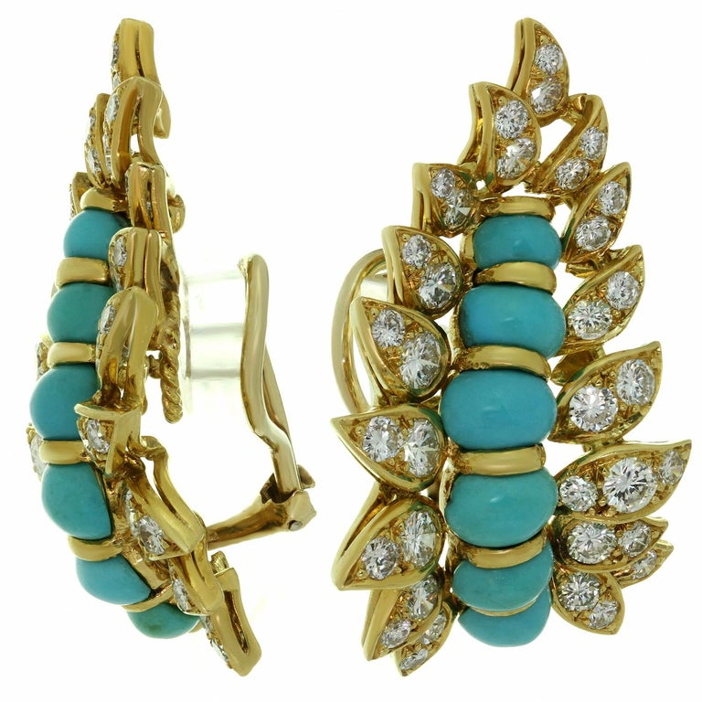 Neiman Marcus Diamond Turquoise Yellow Gold Clip-On Earrings 3
