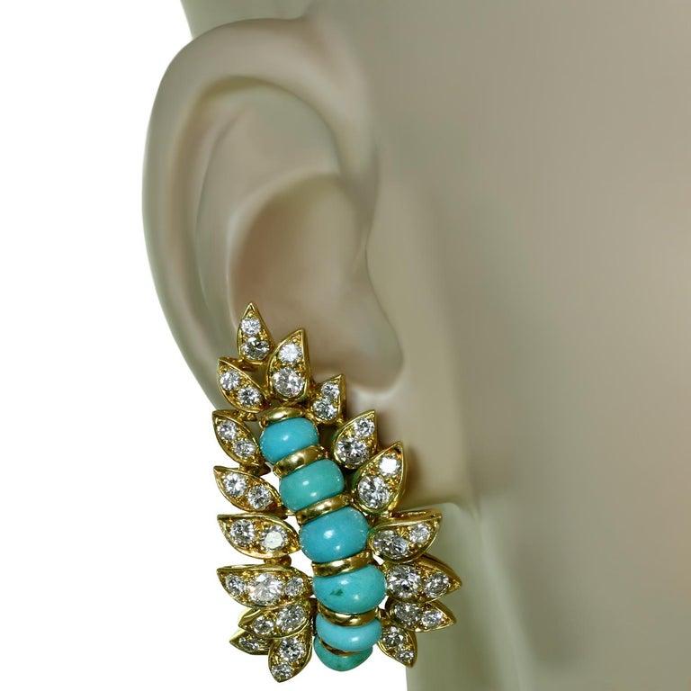 Neiman Marcus Diamond Turquoise Yellow Gold Clip-On Earrings 4