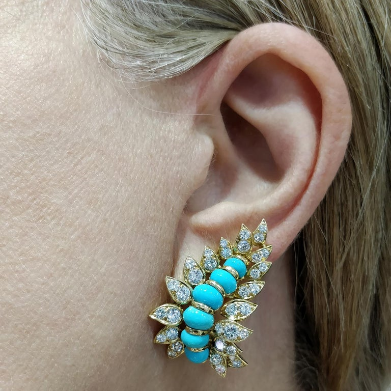 Neiman Marcus Diamond Turquoise Yellow Gold Clip-On Earrings 5