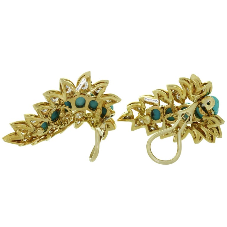 Neiman Marcus Diamond Turquoise Yellow Gold Clip-On Earrings 6