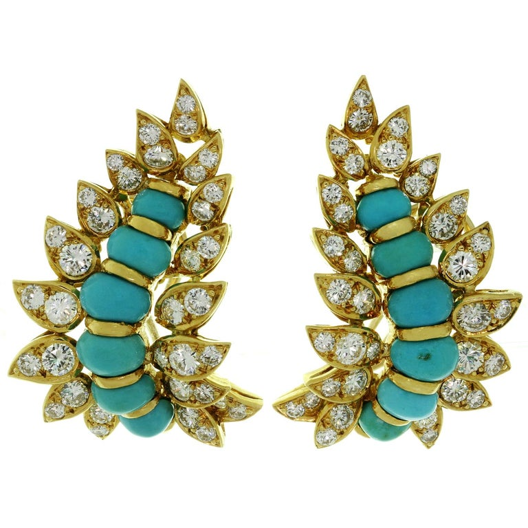 Neiman Marcus Diamond Turquoise Yellow Gold Clip-On Earrings 1