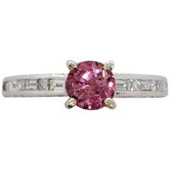 Neiman Marcus Estate Pink Tourmaline and Diamond Ring in 18 Karat