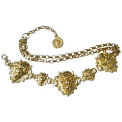 Neiman Marcus Italian Gilt Metal Lion Medallion Link Belt c 1980s