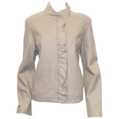 Neiman Marcus Ivory Ruffle Leather Jacket