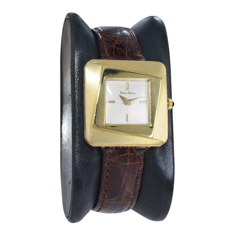 Modernist Neiman Marcus Mid Size Mid Century Wrist Watch in Excellent Original Condition For Sale