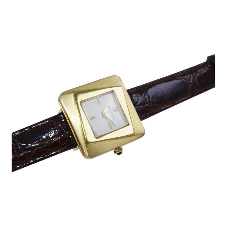 Neiman Marcus Mid Size Mid Century Wrist Watch in Excellent Original Condition For Sale 1