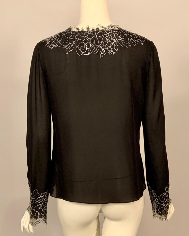 Neiman Marcus Silk Chiffon Blouse Black and White Spider Web Lace Never Worn  For Sale 1