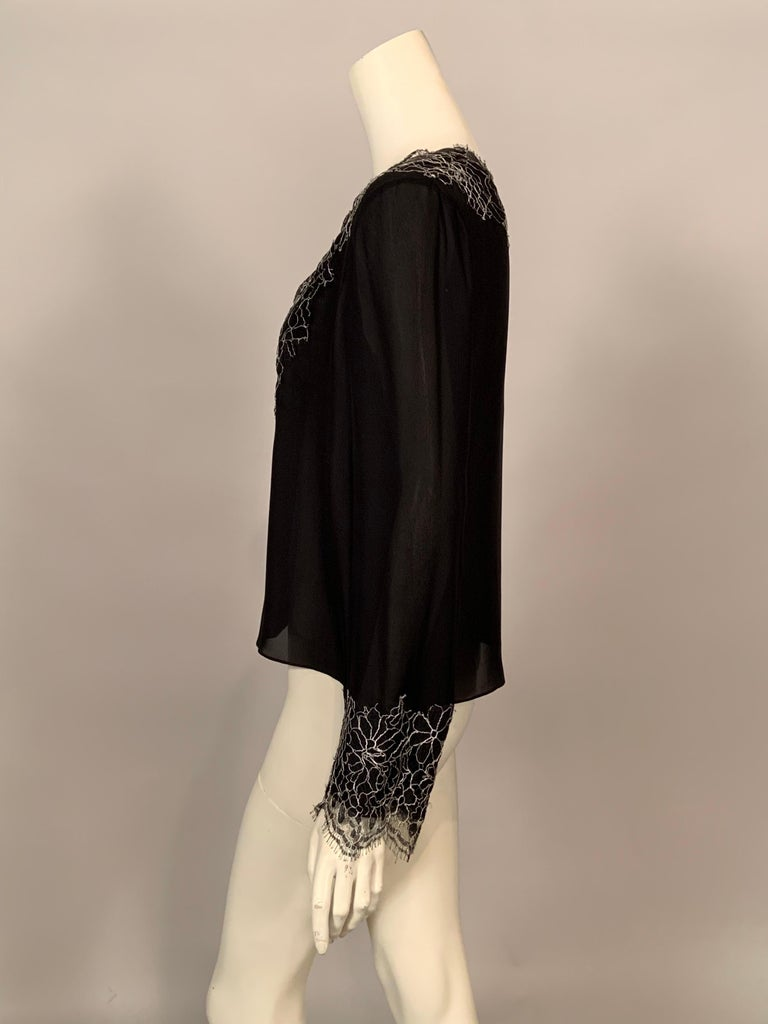 Neiman Marcus Silk Chiffon Blouse Black and White Spider Web Lace Never Worn  For Sale 2