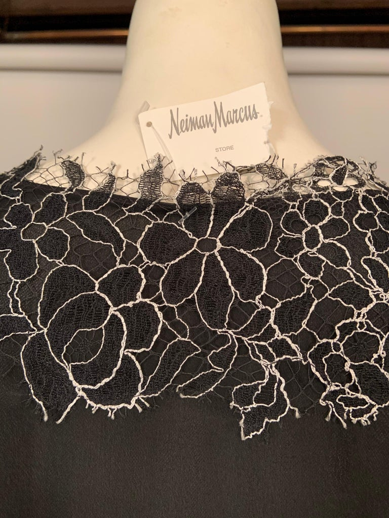 Neiman Marcus Silk Chiffon Blouse Black and White Spider Web Lace Never Worn  For Sale 3