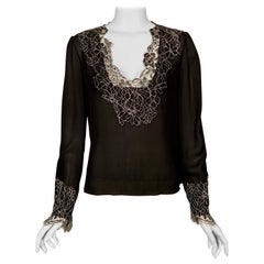 Neiman Marcus Silk Chiffon Blouse Black and White Spider Web Lace Never Worn