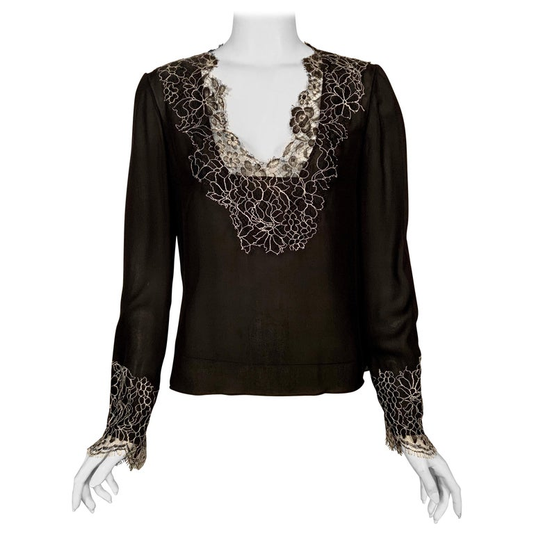 Neiman Marcus Silk Chiffon Blouse Black and White Spider Web Lace Never Worn  For Sale
