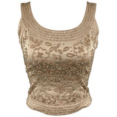 NEIMAN MARCUS Size 2 Beige Beaded Satin Shell Top