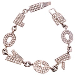 Neiman Marcus White Gold I LOVE YOU Bracelet