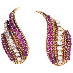 Neiman Marcus Yellow Gold Ruby Diamond Earrings