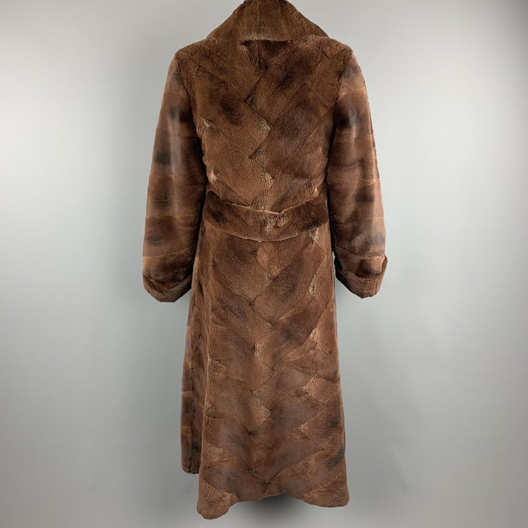NEIMAN MARCUS ZUKISize L Brown Muskrat Fur Vintage Coat For Sale 2