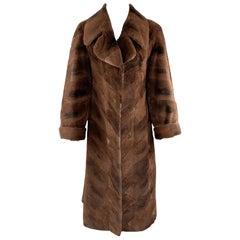 NEIMAN MARCUS ZUKISize L Brown Muskrat Fur Vintage Coat