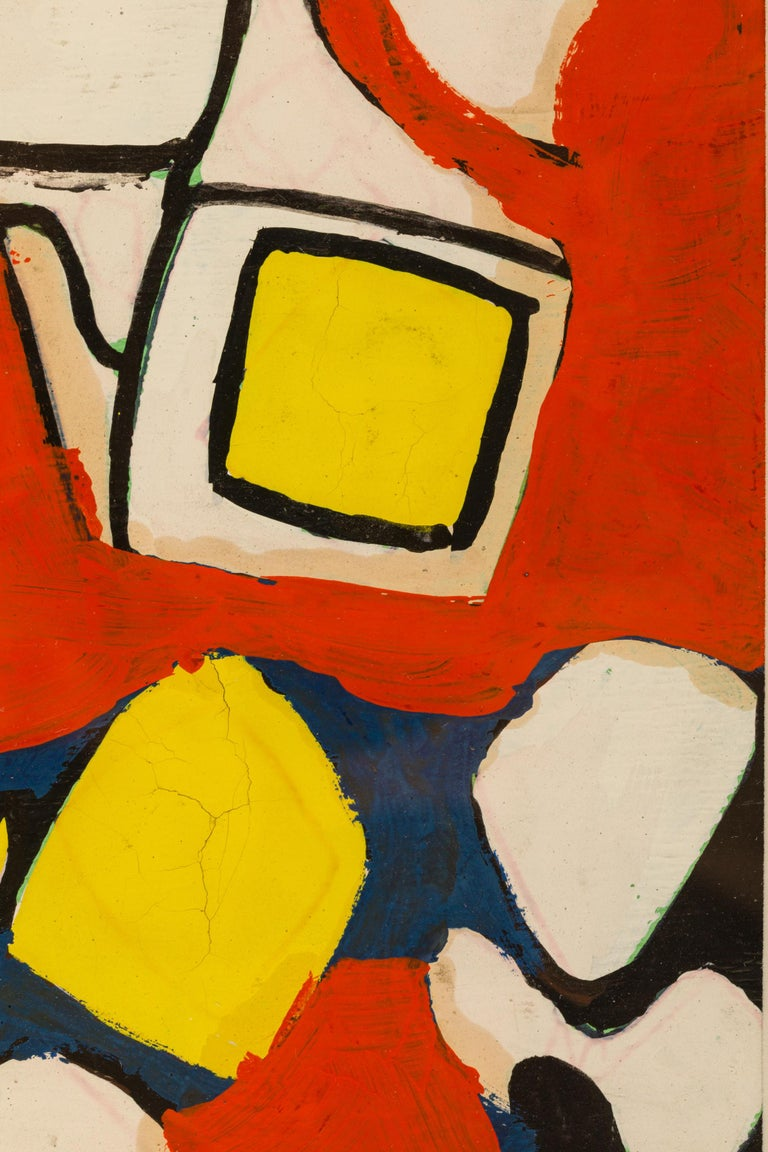 Hand-Painted Nell Blaine Abstract Gouache on Paper, USA, 1940s For Sale