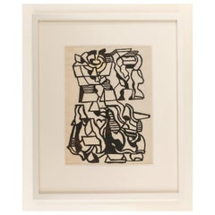 Nell Blaine Abstract Ink Drawing on Paper, USA, 1940s