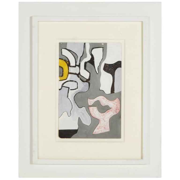 """Nell Blaine """"Abstraction"""" Gouache and India Ink on Paper, USA, 1944 For Sale"""