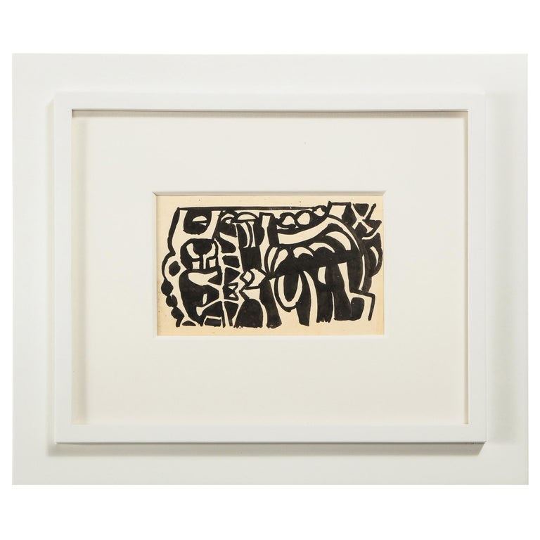 Nell Blaine Black and White Ink Drawing on Paper, USA, 1940s For Sale